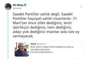 YILDIRIM OY İSTEDİ, SAADET PARTİLİ AKTAŞ; BAŞKA KAPIYA